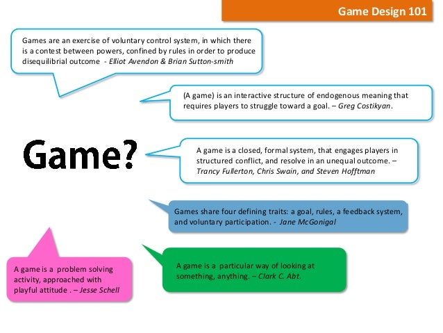 Basic Elements Of Serious Game Design - Game design 101