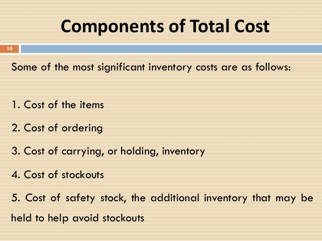 what are the major components of inventory carrying cost The cost of carrying inventory is used to help companies determine how  there  are four main components to the carrying cost of inventory.