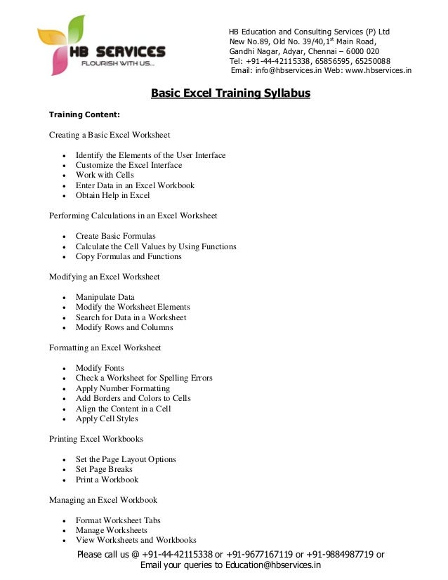 basic excel training syllabus