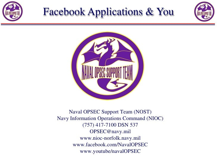 Facebook Applications & You      Naval OPSEC Support Team (NOST)  Navy Information Operations Command (NIOC)            (7...
