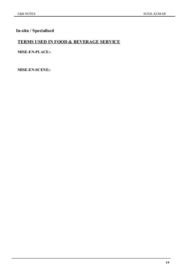 Basic food and beverage service – Skills Worksheet Vocabulary Review