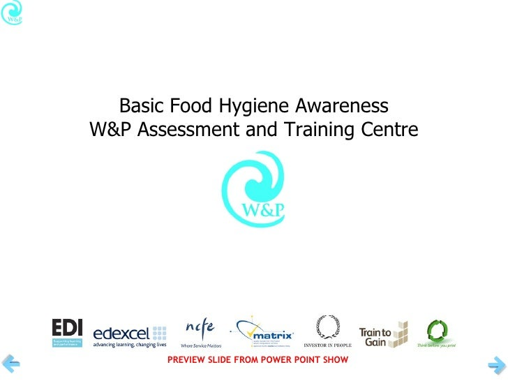 Basic Food Hygiene Awareness W&P Assessment and Training Centre