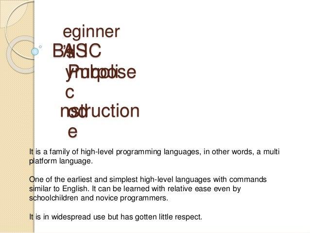 BASIC Programming Language Slide 2