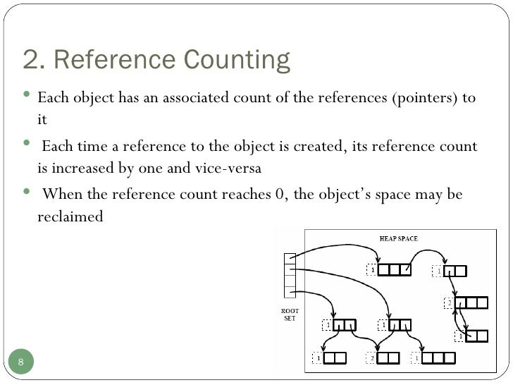 2. Reference Counting <ul><li>Each object has an associated count of the references (pointers) to it </li></ul><ul><li>Eac...