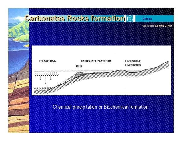 Geoscience Training Center Cefoga Carbonates Rocks formationCarbonates Rocks formation Chemical precipitation or Biochemic...