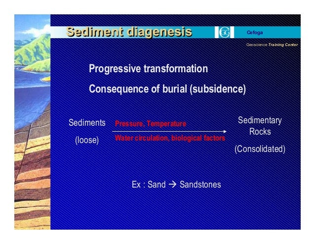 Geoscience Training Center Cefoga Sediment diagenesisSediment diagenesis Sediments (loose) Sedimentary Rocks (Consolidated...