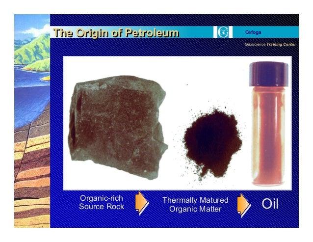 Geoscience Training Center Cefoga Organic-rich Source Rock Thermally Matured Organic Matter Oil The Origin of PetroleumThe...
