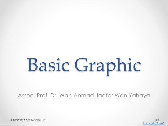 Basic Graphic Assoc. Prof. Dr. Wan Ahmad Jaafar Wan Yahaya 1Thanks: Ankit Mishra|CS1 Fb.com/djankit007