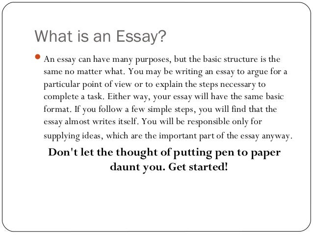 basic of an essay How to write an essay/parts from wikibooks keep in mind that the main importance of an essay is to provide basic background on a subject and.