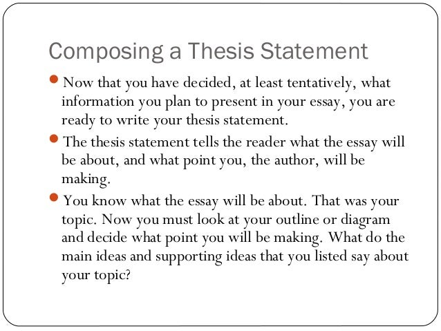 composition statement theory thesis Thesis statement ppt 1 thesis statements 2 what is a thesis statementa thesis statement is the main idea of anessayit is often a point you want to argue orsupport in an essaysothe thesis statement explains to a readerthe main idea of the essay, and thewriter's opinion on that idea.