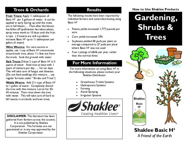 Gardening, Shrubs & Trees Shaklee Basic H² A Friend of the Earth The following results have been reported by individual fa...