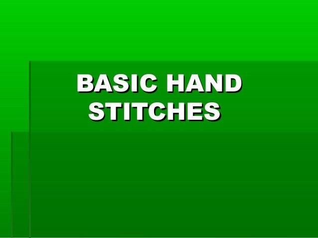 BASIC HANDBASIC HAND STITCHESSTITCHES