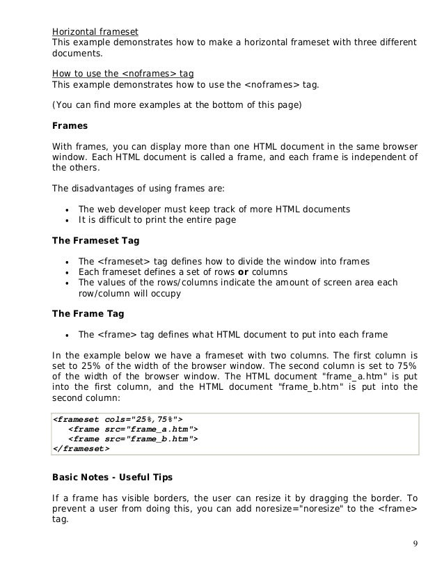 Basic Html Notes