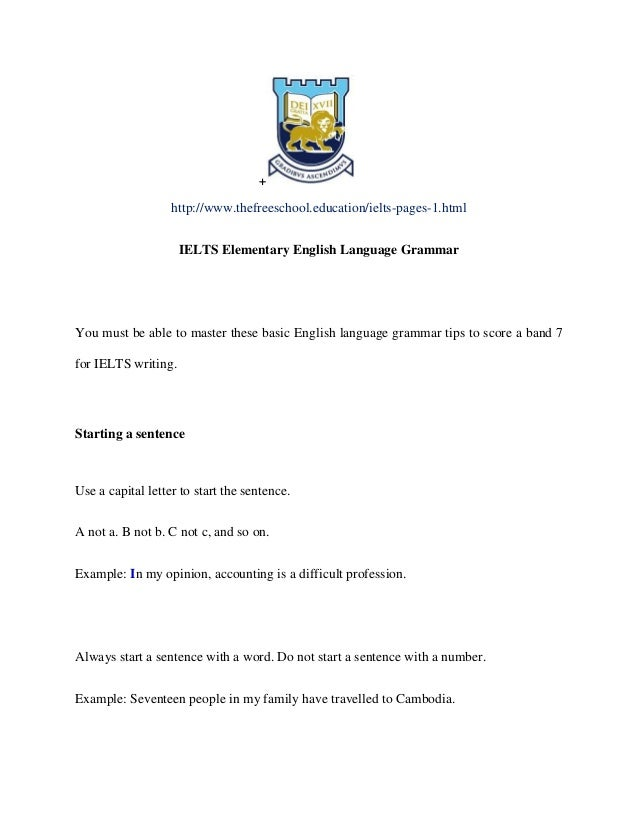 IELTS Basic Grammar required for band 7