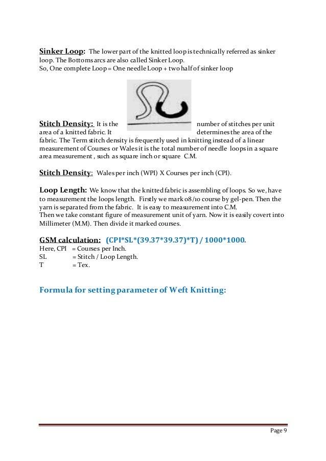 Basic informartion of knitting