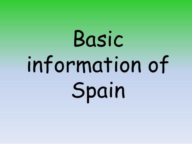 Basic information of spain