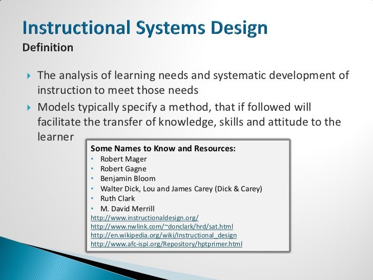 Instructional Systems Design Definition