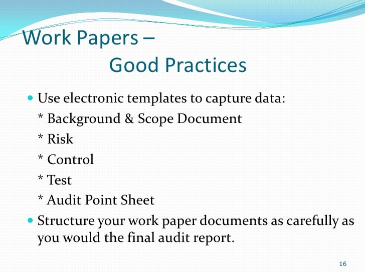 Basic internal auditing presentation for Audit workpaper template