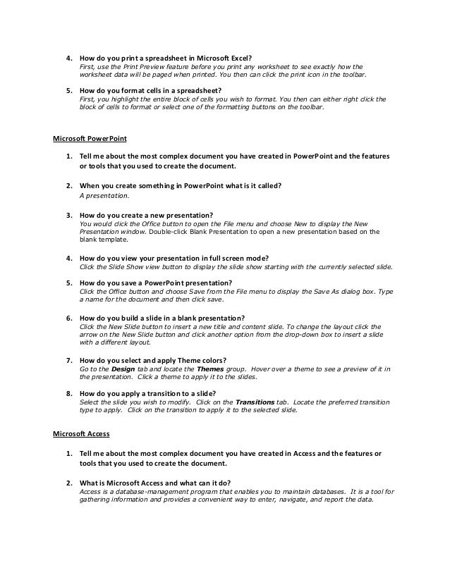Basic interview questions for skills tests