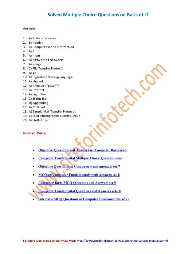 ... Interview MCQ Questions Of Computer Fundamentals Set 3; 8. Solved  Multiple Choice ...