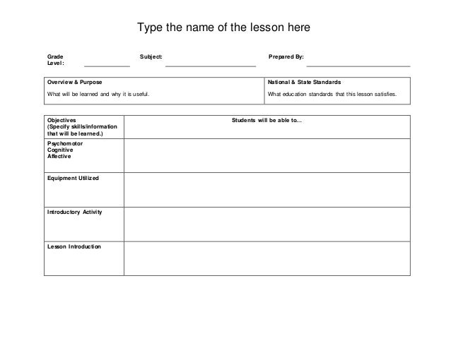 Basic Lesson Plan Template - Easy lesson plan template