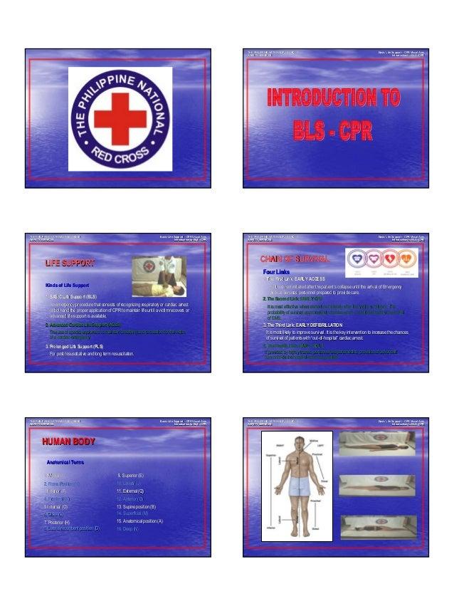BASIC LIFE SUPPORT - CPR 1 Basic Life SupportBasic Life Support –– CPR Visual AidsCPR Visual Aids Introduction to BLSIntro...