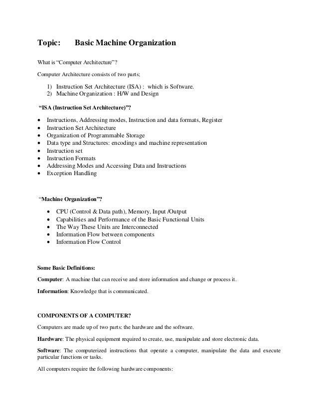 Basicmachineorganization