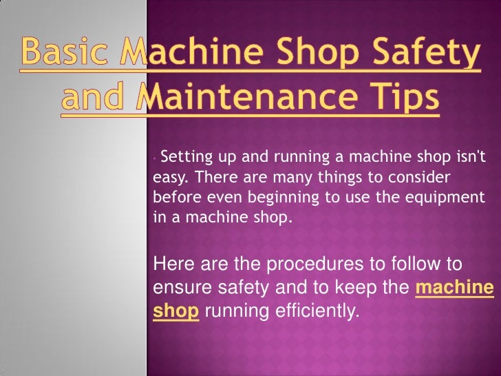 machine shop safety