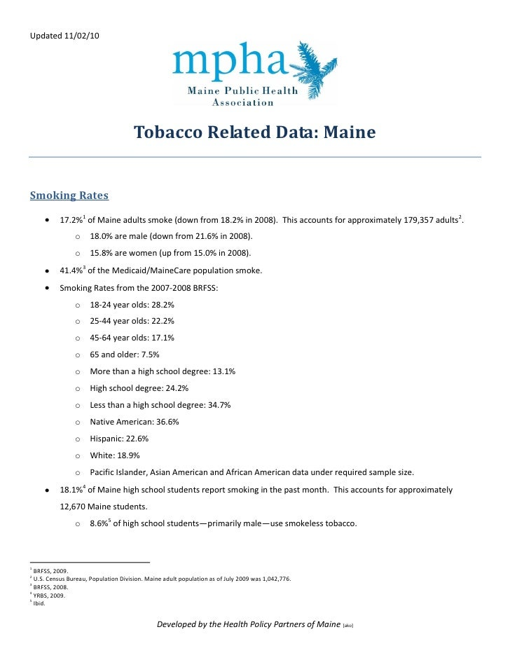 Updated 11/02/10                                           Tobacco Related Data: Maine   Smoking Rates             17.2%1 ...