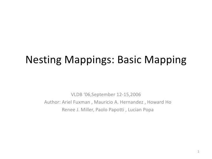 Nesting Mappings: Basic Mapping<br />VLDB '06,September 12-15,2006<br />   Author: Ariel Fuxman , Mauricio A. Hernandez , ...