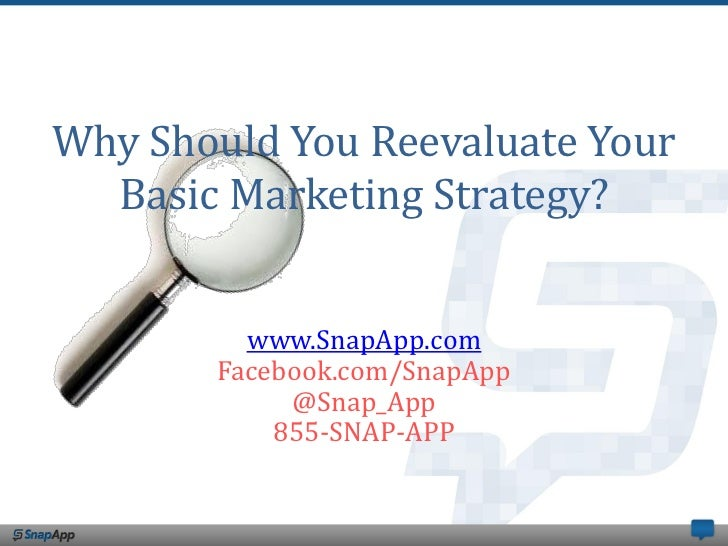 Why Should You Reevaluate Your  Basic Marketing Strategy?         www.SnapApp.com       Facebook.com/SnapApp            @S...
