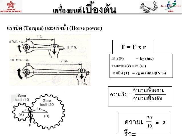 แรงบิด (Torque) และแรงม้า (Horse power)T = F x rแรง (F) = kg (กก.)ระยะทาง(r) = m (ม.)แรงบิด (T) = kg.m (กก.ม)(N.m)เครื่องย...