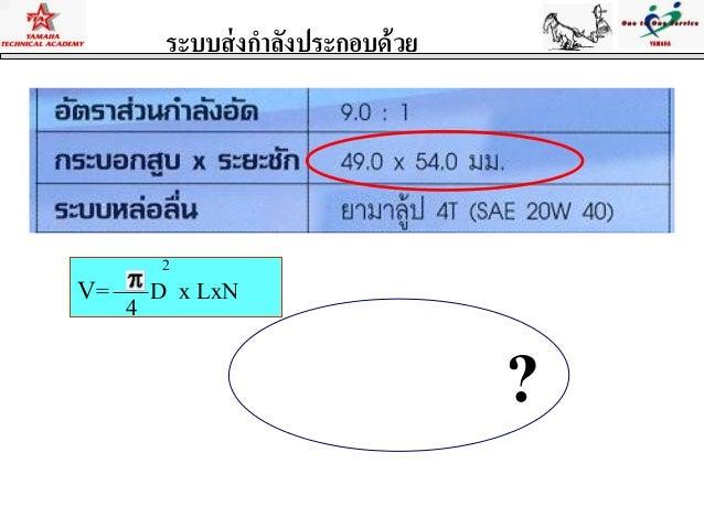 ระบบส่งกาลังประกอบด้วยV= D x LxN24?