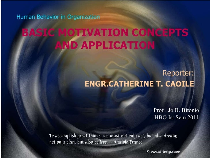 Human Behavior in Organization BASIC MOTIVATION CONCEPTS AND APPLICATION Reporter: ENGR.CATHERINE T. CAOILE Prof . Jo B. B...