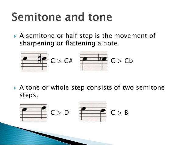  A semitone or half step is the movement of sharpening or flattening a note. C > C# C > Cb  A tone or whole step consist...