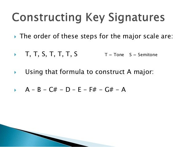  The order of these steps for the major scale are:  T, T, S, T, T, T, S T = Tone S = Semitone  Using that formula to co...