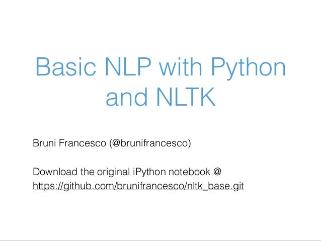 Basic NLP with Python and NLTK