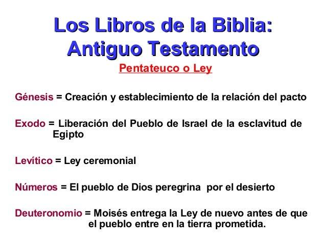 Los Libros de la Biblia: Antiguo Testamento Pentateuco o Ley Génesis = Creación y establecimiento de la relación del pacto...