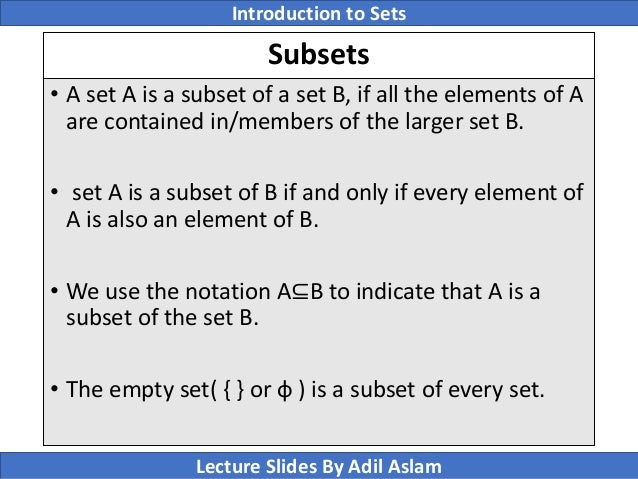 Introduction To Sets Theory In Mathematics