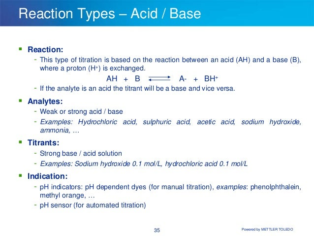 acids and bases titrations reactions and Introduction to acids, bases and titration use the phtimeexp selected from the titrations pay particular attention to difference s in the reactions and to.