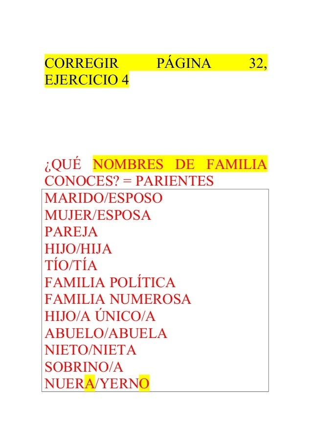 CORREGIR PÁGINA 32,  EJERCICIO 4  ¿QUÉ NOMBRES DE FAMILIA  CONOCES? = PARIENTES  MARIDO/ESPOSO  MUJER/ESPOSA  PAREJA  HIJO...