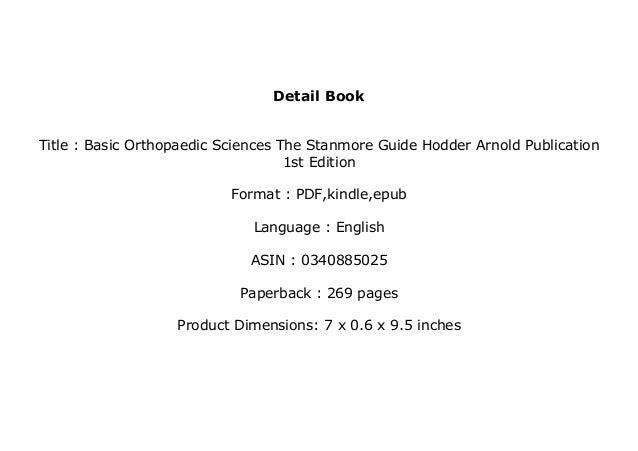 Plus Books ~ Basic Orthopaedic Sciences, The Stanmore ...