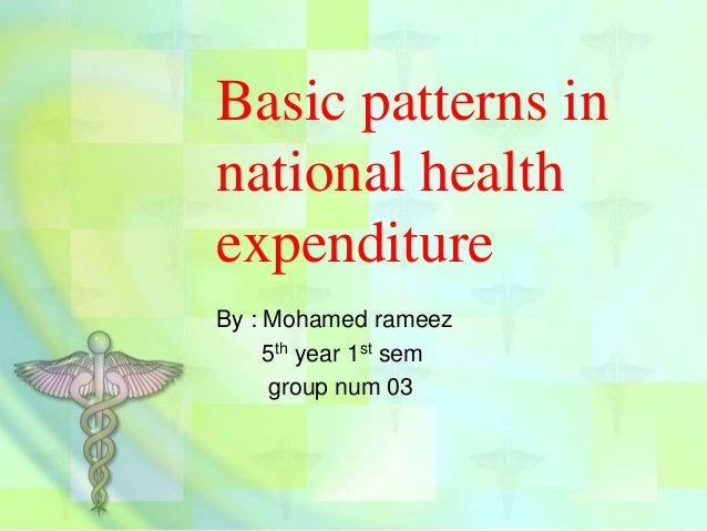 Basic patterns in national health expenditure By : Mohamed rameez 5th year 1st sem group num 03