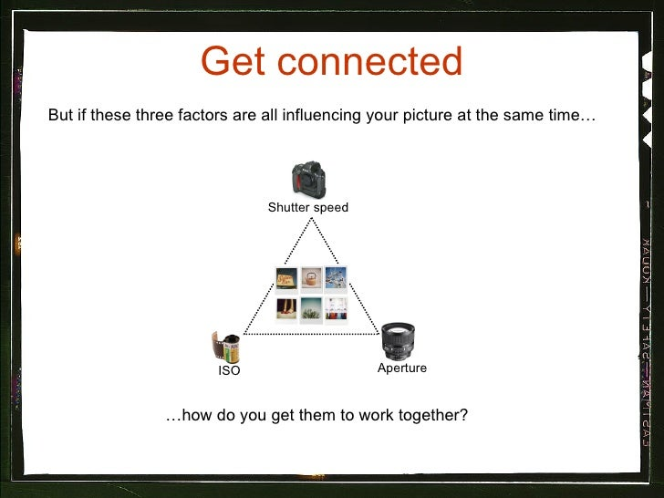 Get connected <ul><li>But if these three factors are all influencing your picture at the same time… </li></ul>Shutter spee...