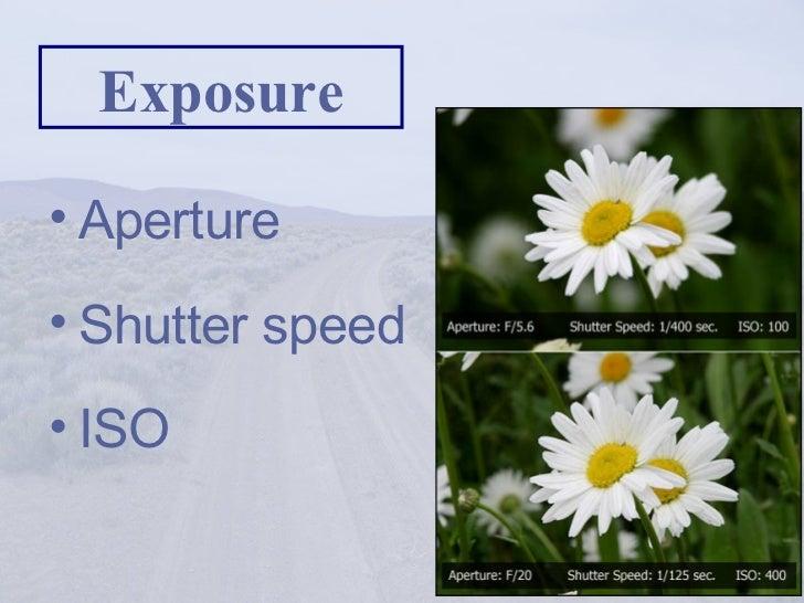 Exposure <ul><li>Aperture </li></ul><ul><li>Shutter speed </li></ul><ul><li>ISO </li></ul>