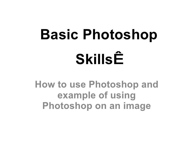 Basic Photoshop Skills   How to use Photoshop and example of using Photoshop on an image