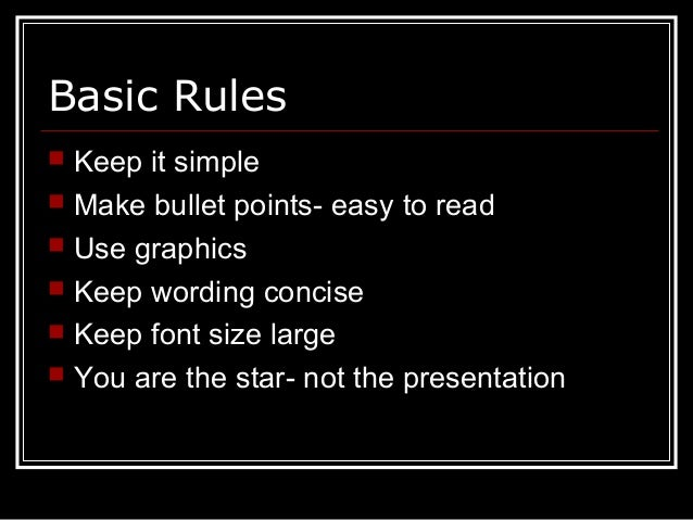 basic powerpoint guidelines