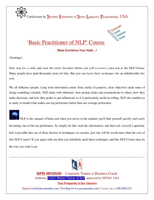 """Certification by National Federation of Neuro Linguistic Programming; USA """"Basic Practitioner of NLP"""" Course Make Excellen..."""