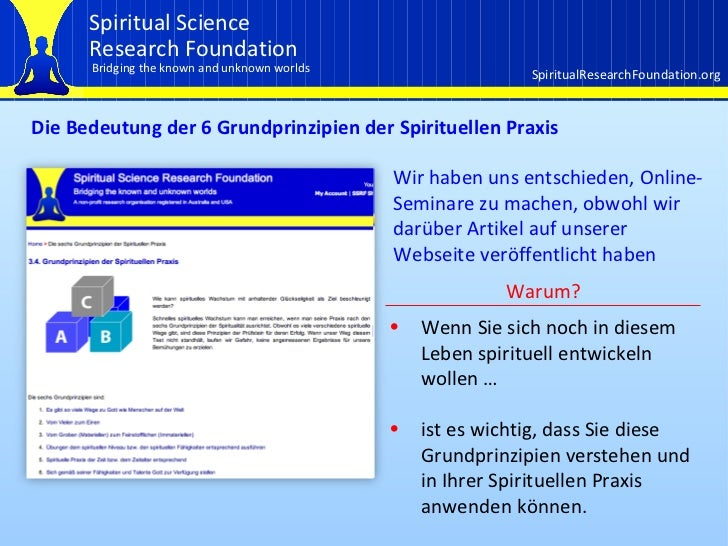 Einführung in die Grundprinzipien der Spirituellen Praxis und das erste Prinzip Slide 2