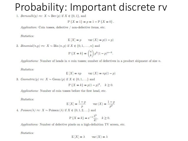 Probability: Important discrete rv